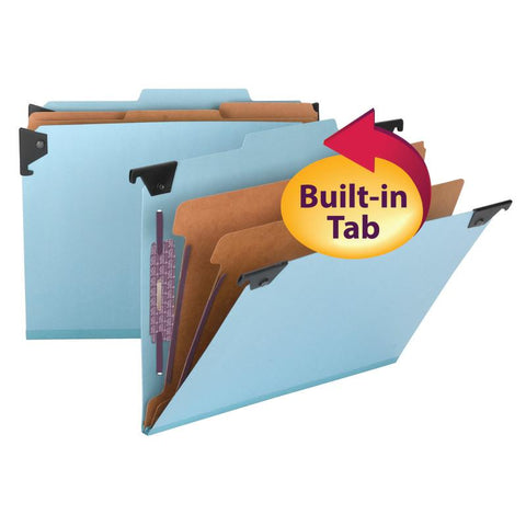 Smead  FasTab® Hanging Pressboard Classification Folder with SafeSHIELD® Fastener, 2 Dividers,  2/5-Cut Built-in Tab, Letter Size, Blue, 10 per Box (65115)