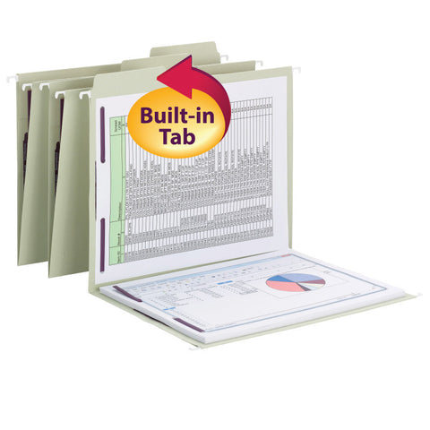 Smead FasTab® Hanging Fastener Folder with Two SafeSHIELD® Fasteners, 1/3-Cut Built in Tab, Letter Size, Moss, 18 per Box, (65120)