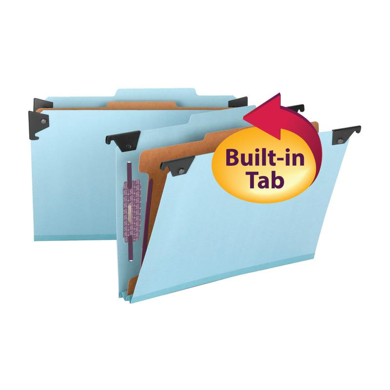 Smead FasTab® Hanging Pressboard Classification Folder with SafeSHIELD® Fastener, 1 Divider, 2/5-Cut Built-in Tab, Legal Size, Blue, 10 per Box (65155)