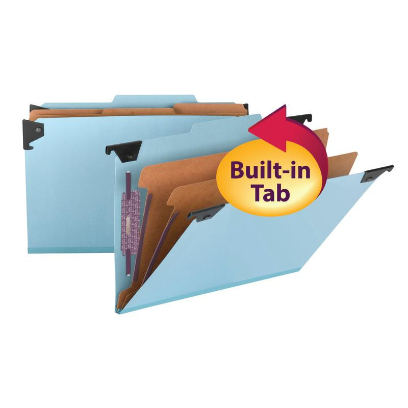 Smead  FasTab® Hanging Pressboard Classification Folder with SafeSHIELD® Fastener, 2 Dividers, 2/5-Cut Built-in Tab, Legal Size, Blue, 10 per Box (65165)