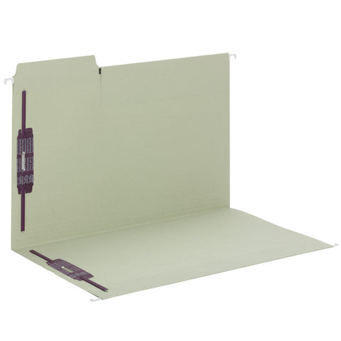 Smead FasTab® Hanging Fastener Folder with Two SafeSHIELD® Fasteners, 1/3-Cut Built in Tab, Legal Size, Moss, 18 per Box, (65170)