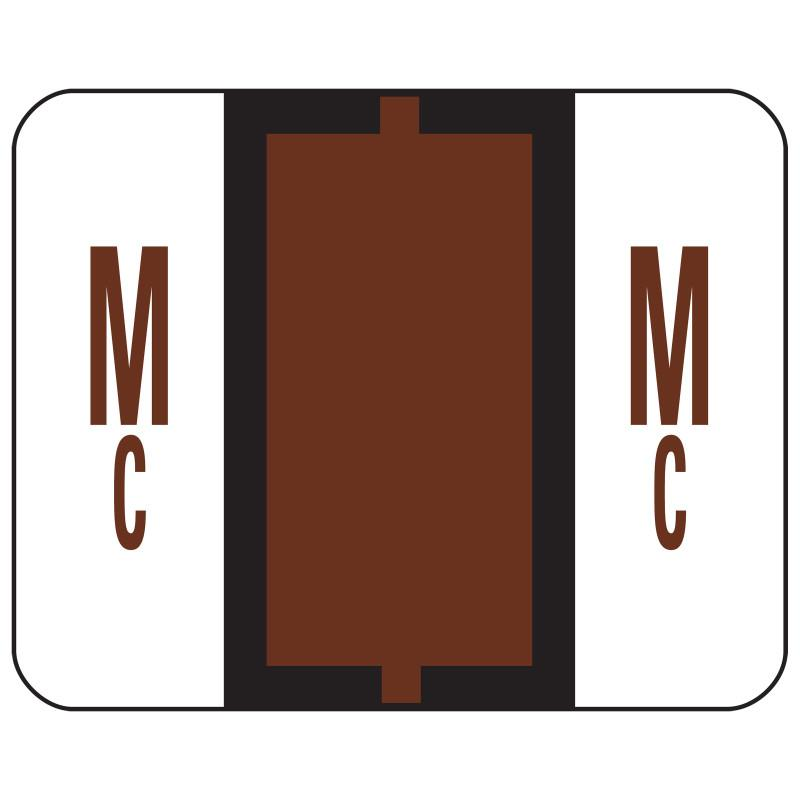 Smead BCCR Bar-Style Color-Coded Alphabetic Label, Mc, Label Roll, Brown, 500 labels per Roll, (67097)