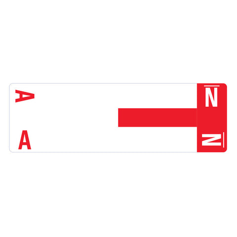 Smead AlphaZ® NCC Color-Coded Label,  A&N, Label Sheet, Red, 100 per Pack (67152)