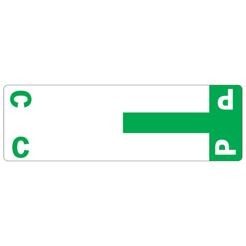 Smead AlphaZ® NCC Color-Coded Label, C&P, Label Sheet, Dark Green, 100 per Pack (67154)