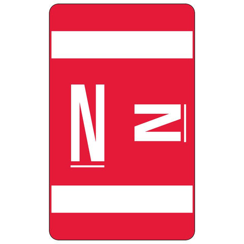 Smead AlphaZ ACCS Color-Coded Alphabetic Label, N, Label Sheet, Red, 100 labels per Pack (67184)