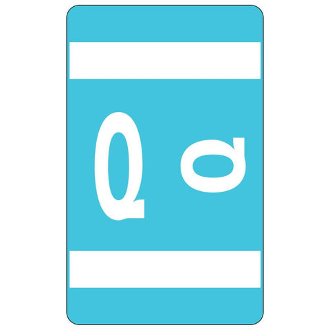 Smead AlphaZ ACCS Color-Coded Alphabetic Label, Q, Label Sheet, Light Blue, 100 labels per Pack (67187)