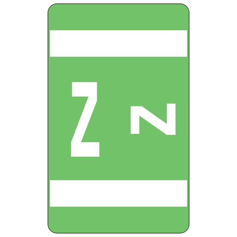 Smead AlphaZ ACCS Color-Coded Alphabetic Label, Z, Label Sheet, Light Green, 100 labels per Pack (67196)