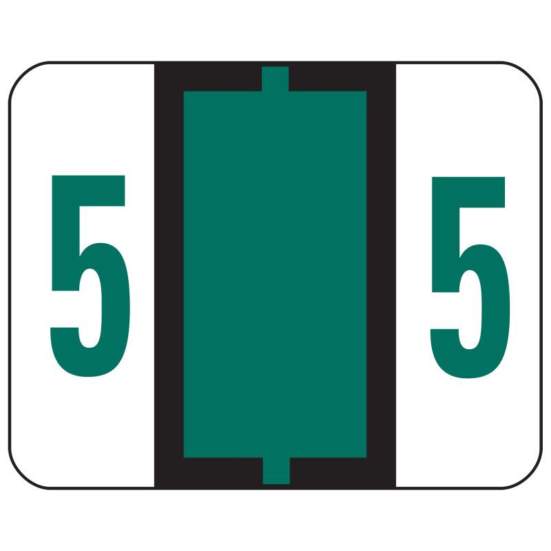 Smead BCCRN Bar-Style Color-Coded Numeric Label, 5, Label Roll, Dark Green, 500 labels per Roll (67375)