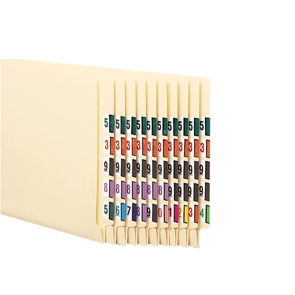 Smead BCCRN Bar-Style Color-Coded Numeric Label, 0-9, Label Roll, Assorted Colors, 5000 labels (67380)