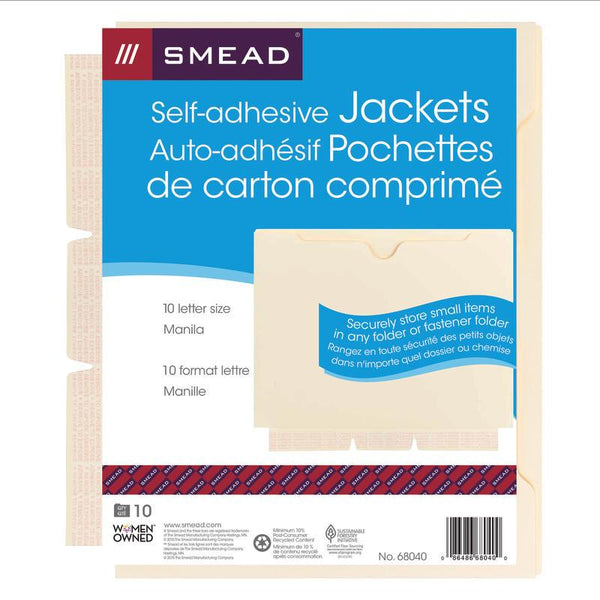Smead Self-Adhesive Jacket, Manila, Self-Adhesive on Side, Letter Size, 10 per Pack (68040)