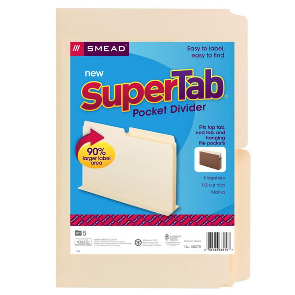 Smead SuperTab® Pocket Divider, Oversize 1/2-Cut Tab, 2 dividers per insert, Legal Size, 5 per Pack (68070)