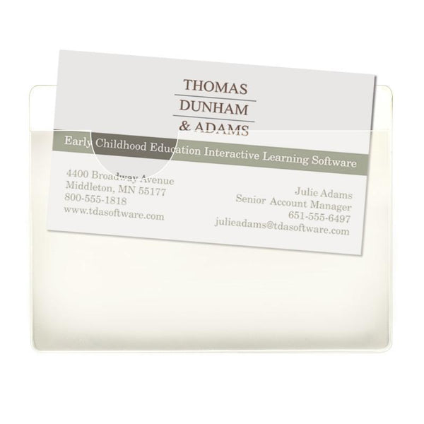 "Smead Self-Adhesive Poly Pocket, Business Card Size (4-1/16"" W x 3"" H), Clear, 68123"