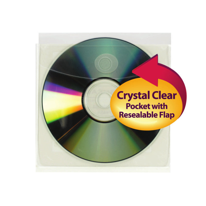 "Smead Self-Adhesive Poly CD/DVD Pocket, 5""W x 4-15/16""H, Clear, 10 per Pack (68144)"