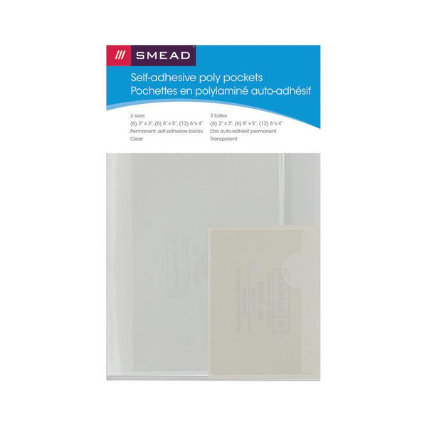 Smead Self-Adhesive Poly Pockets, Clear Poly, 3 different sizes, 24 per Pack (68167)