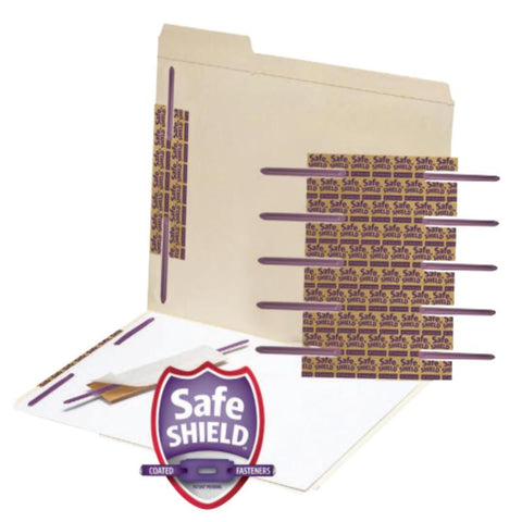"Smead Self-Adhesive Fastener with SafeSHIELD® Coated Fastener Technology, 2"" Capacity, Purple, 50 per Box (68216)"