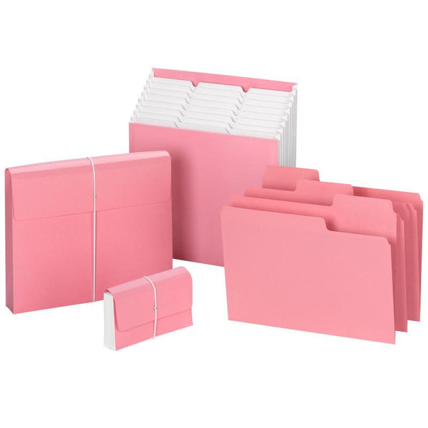 "Smead Tag Along® Organizer, Receipt/Coupon/Blank Labels, 5 Pockets, Flap and Cord, 6-1/2""W x 3-1/2""H, Pink (70204)"