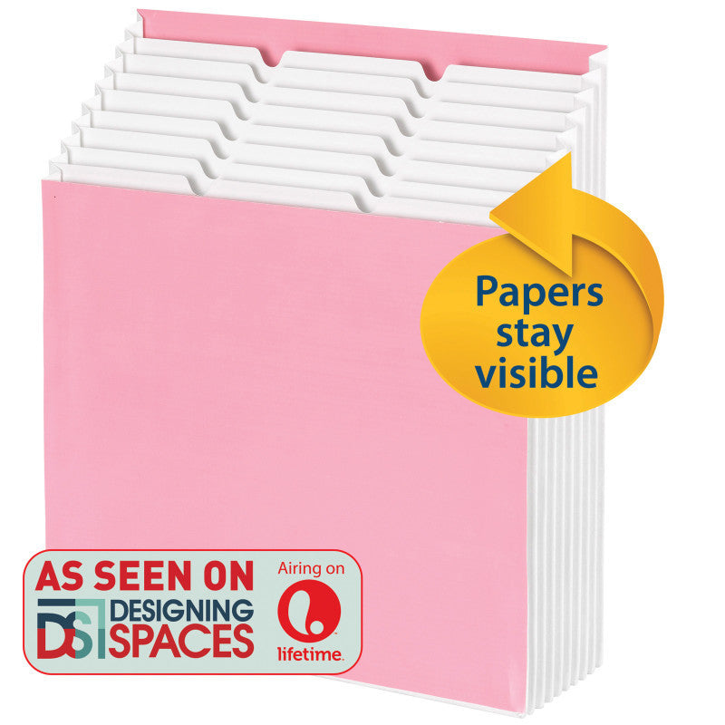 Smead Stadium® File, Alphabetic/ Monthly/ Daily, Household/ Blank Labels, 9 Pockets, Letter Size, Pink/White (70209)