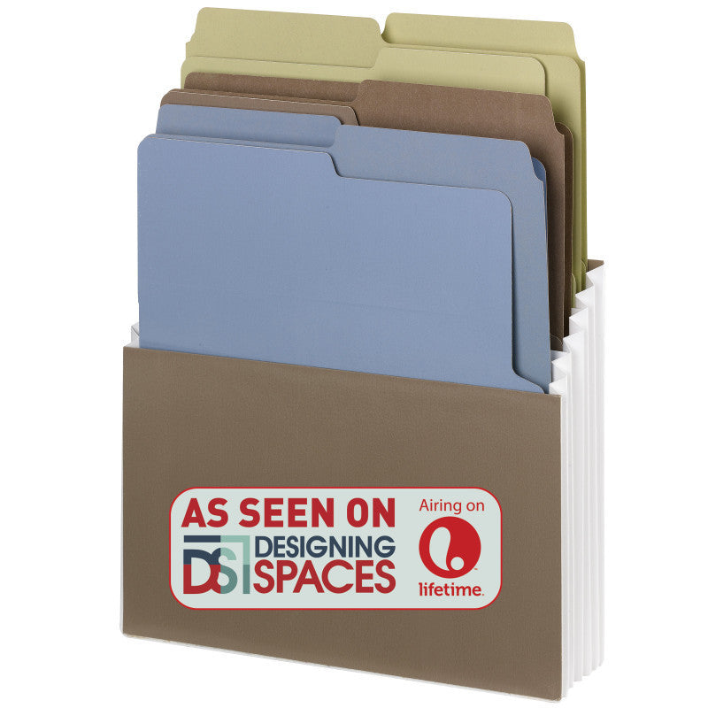 Smead Organized Up® Vertical Stadium® File with Heavyweight Vertical Folders, 3 Pockets, Letter Size, Nutmeg/Earth Tones (70221)