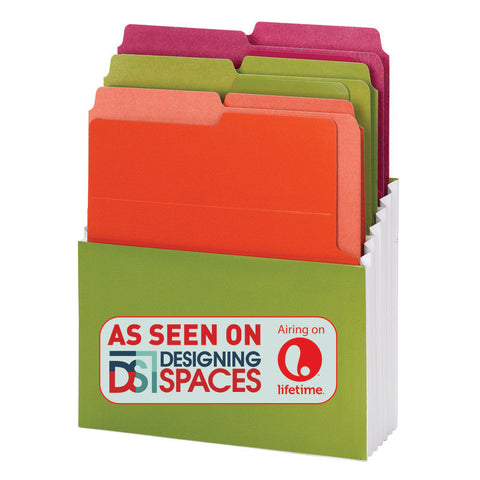 Smead Organized Up® Vertical Stadium® File with Heavyweight Vertical Folders, 3 Pockets, Letter, Peridot/Brights (70222)