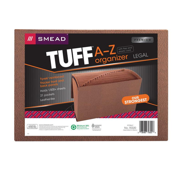 Smead TUFF® Expanding File, Alphabetic (A-Z), 21 Pockets, Flap and Elastic Cord Closure, Legal Size, Redrope-Printed Stock (70320)
