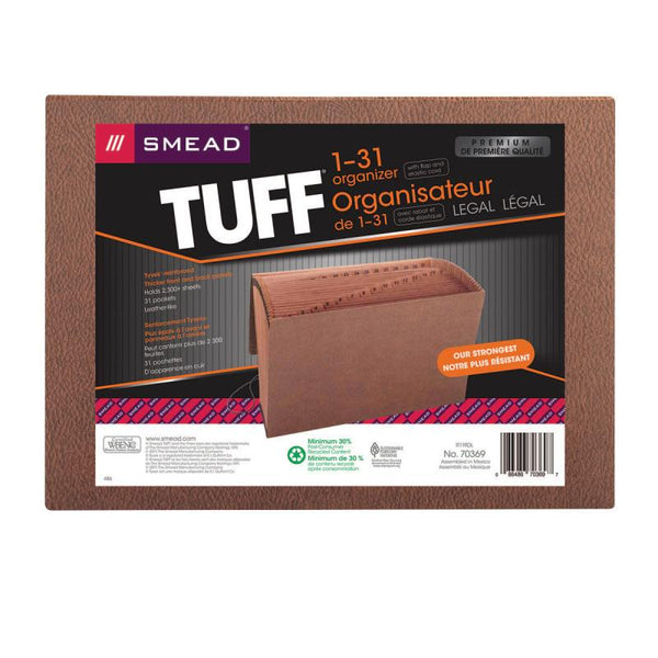 Smead TUFF® Expanding File, Daily (1-31), 31 Pockets, Flap and Elastic Cord Closure, Legal Size, Redrope-Printed Stock (70369)