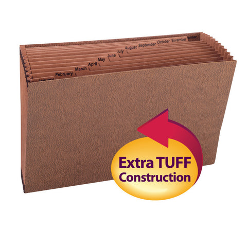 Smead TUFF® Expanding File, Monthly (Jan.-Dec.) 12 Pockets, Legal Size, Redrope-Printed Stock (70490)