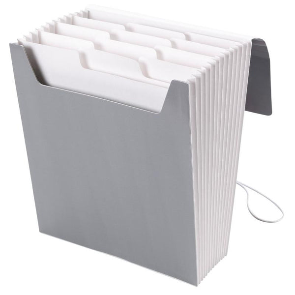 Smead Organized Up® Vertical Expanding File with SuperTab®, 12 Pockets, Letter Size, Cool Gray (70700)