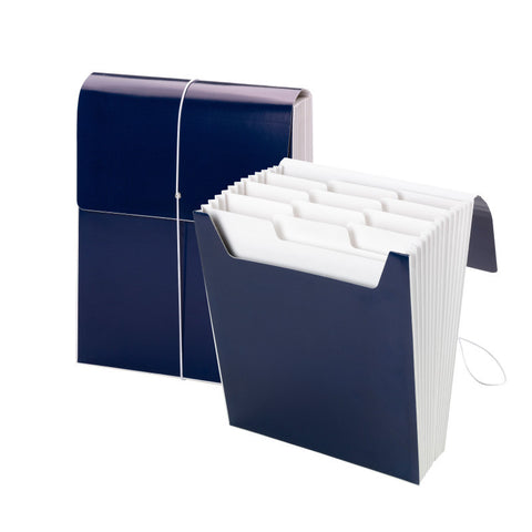 Smead Organized Up® Vertical Expanding File with SuperTab®, 12 Pockets, Letter Size, Monaco Blue (70701)