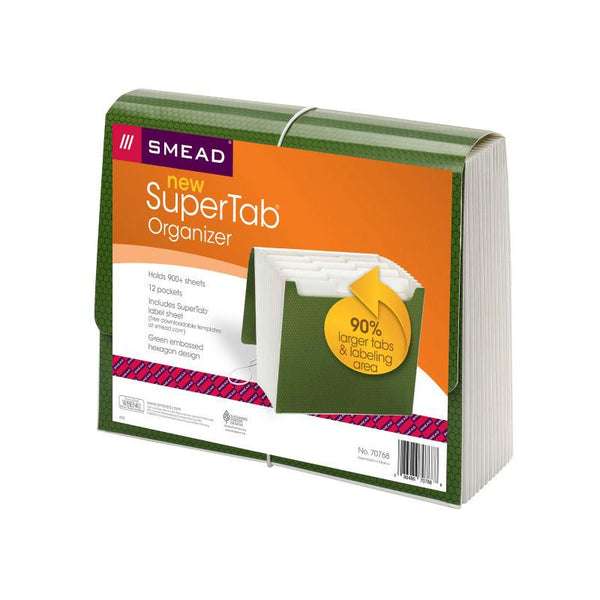 Smead SuperTab® Expanding File, 12 Pockets, Flap and Cord Closure, Letter Size, Green (70768)