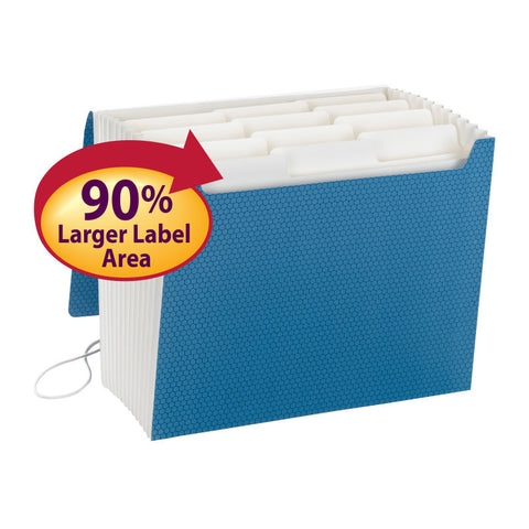 Smead SuperTab® Expanding File, 12 Pockets, Flap and Cord Closure, Letter Size, Blue (70769)