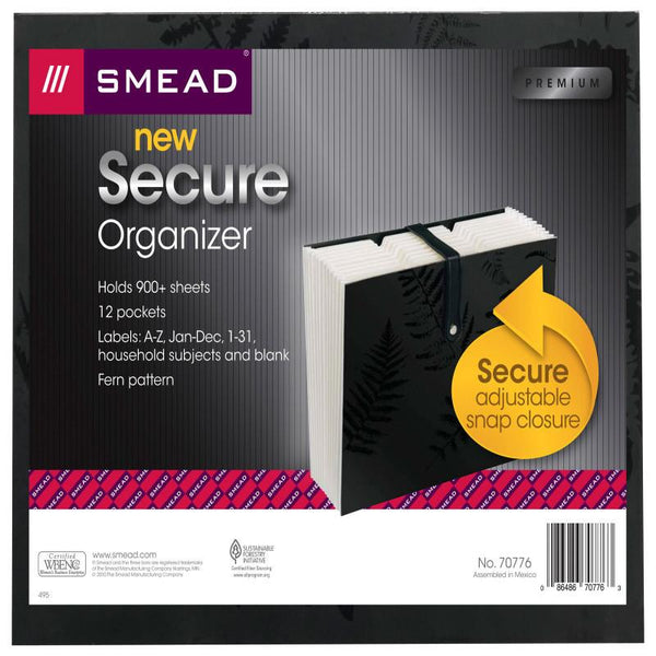 Smead Secure Expanding File, 12 Pockets, Strap/Snap Closure, Letter Size, Black (70776)