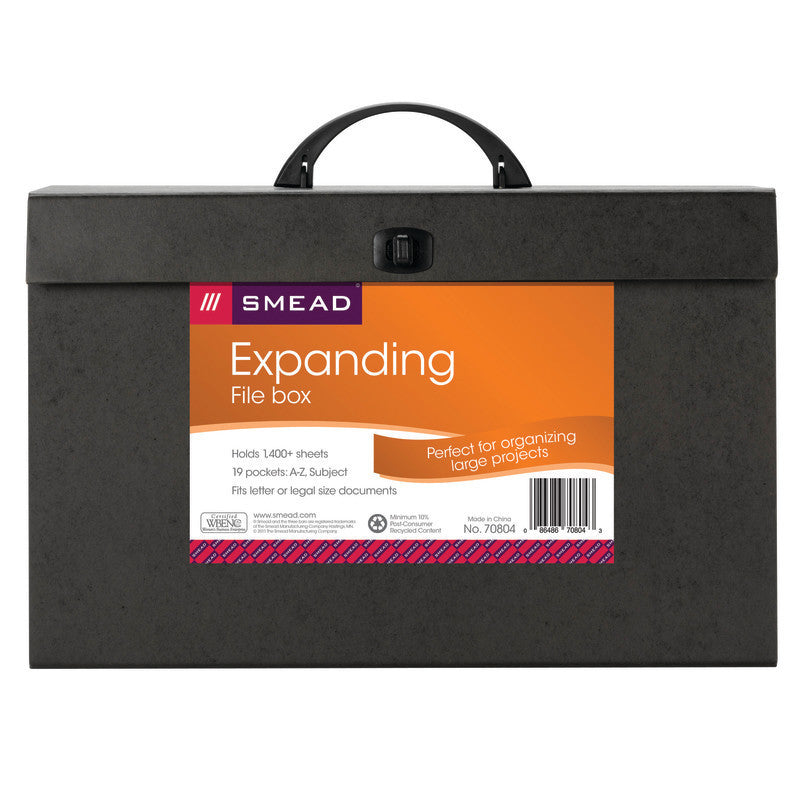 Smead A-Z and Subject Expanding File Box, 19 Pockets, Alphabetic (A-Z) and Subject, Latch Closure, Legal, Black (70804)