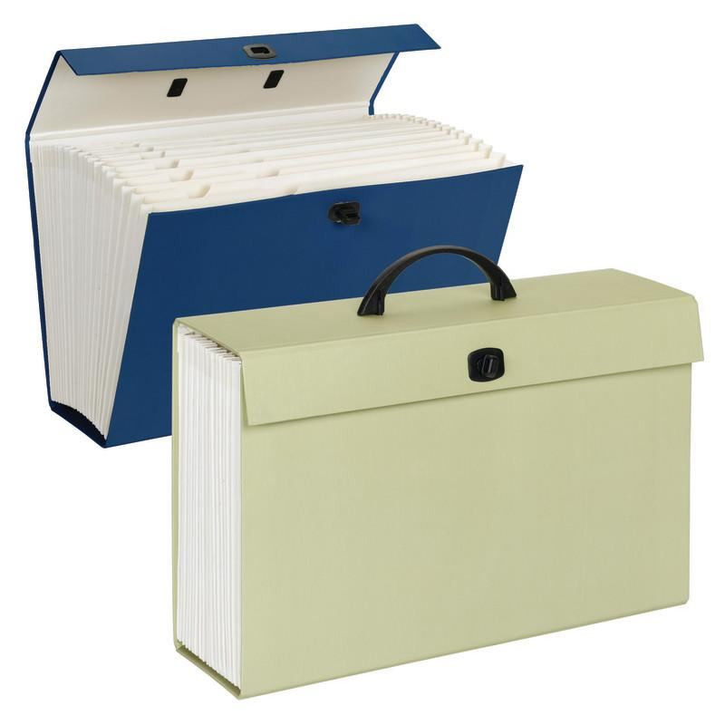 Smead Portable Expanding File Box, 19 Pockets, Alphabetic (A-Z) and Subject Labels, Legal, Assorted Colors (70806)