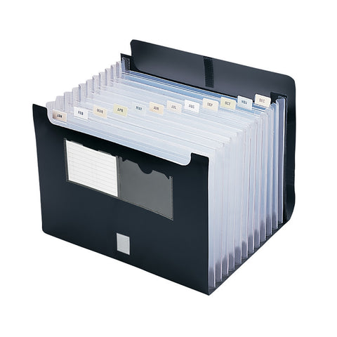 Smead Poly Desktop Expanding File, Alphabetic (A-Z) and Monthly (Jan.-Dec.) Colored Tab Inserts, 12 Pockets, Letter Size, Black (70845)