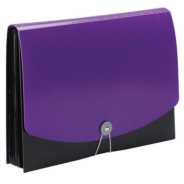 Smead Poly Expanding File, 12 Pockets, Flap and Cord Closure, Letter Size, Purple/Black (70862)
