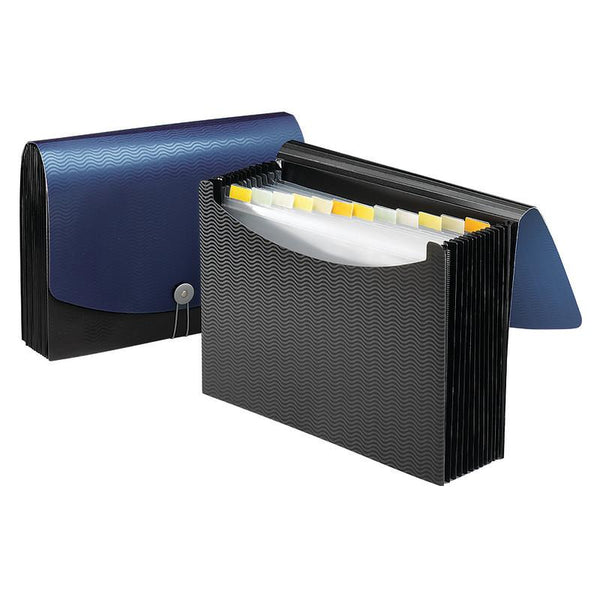 Smead Poly Expanding File, 12 Pockets, Flap and Cord Closure, Letter Size, Blue/Black (70863)