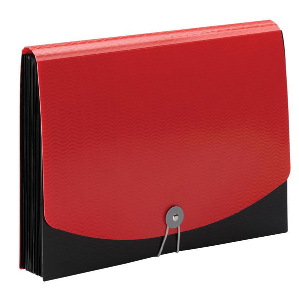Smead Poly Expanding File, 12 Pockets, Flap and Cord Closure, Letter Size, Red/Black (70866)