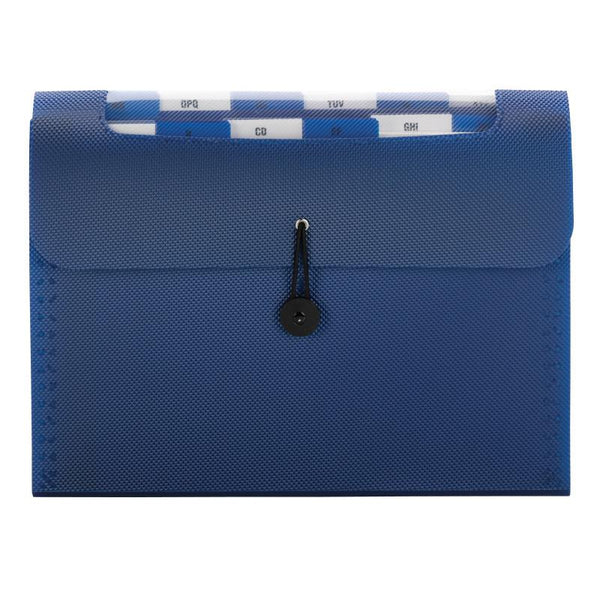 Smead Step Index Poly Organizer, 12 Pockets, Flap and Cord Closure, Letter Size, Navy (70902)