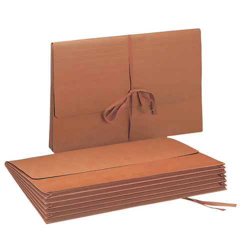 "Smead Wallet, 5-1/4"" Expansion, Flap with Cloth Tie Closure, 15"" W x 10"" H, Legal Size, Redrope, 10 per Box (71076)"