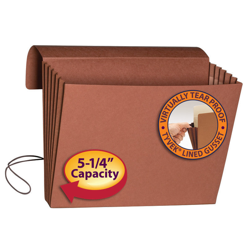 "Smead Expanding Wallet, 5-1/4"" Expansion, Flap and Cord Closure, Extra Wide Letter Size, Redrope, 10 per Box (71186)"
