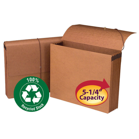 "Smead 100% Recycled Wallet, 5-1/4"" Expansion, Flap and Cord Closure, Letter Size, Redrope, 10 per Box (71198)"