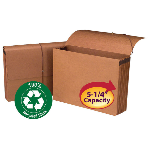 "Smead 100% Recycled Wallet, 5-1/4"" Expansion, Flap and Cord Closure, Legal Size, Redrope, 10 per Box (71199)"