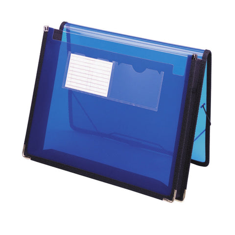 "Smead Poly Wallet, 2-1/4"" Expansion, Flap and Cord Closure, Letter Size, Blue (71953)"