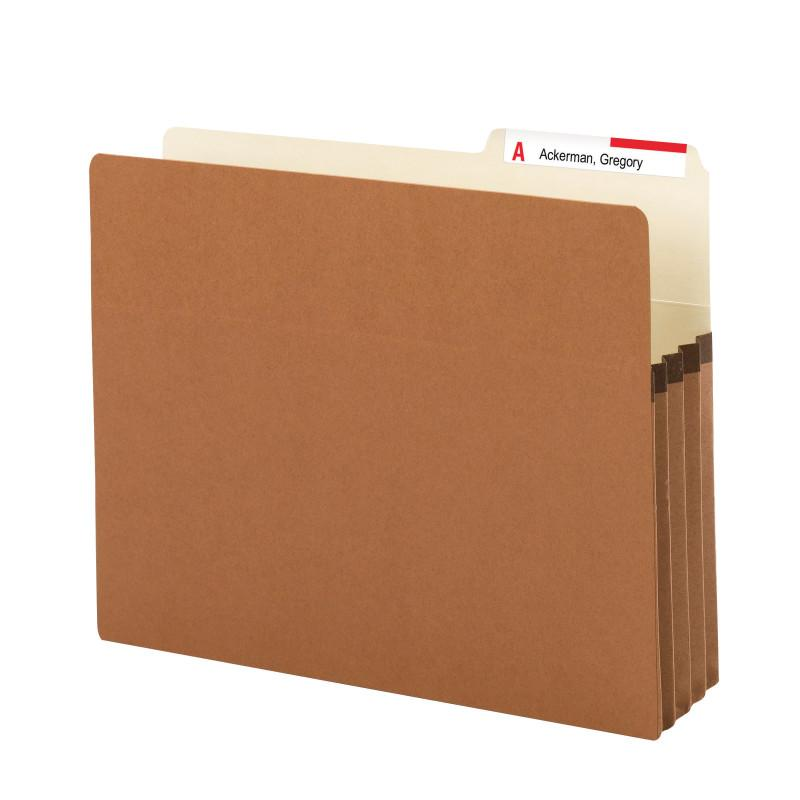 "Smead File Pocket, 2/5-Cut Tab Right Position, Guide Height, 3-1/2"" Expansion, Letter Size, Redrope, 25 per Box (73088)"