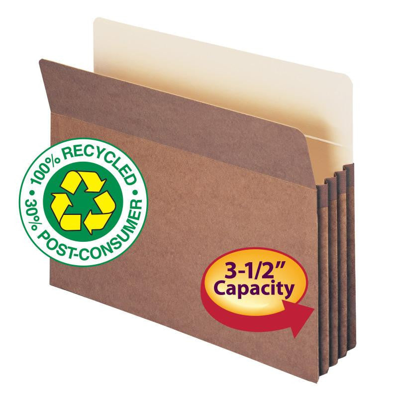 "Smead 100% Recycled File Pocket, Straight-Cut Tab, 3-1/2"" Expansion, Letter Size, Redrope, 25 per Box (73205)"