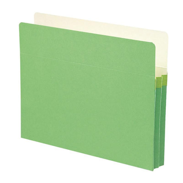 "Smead File Pocket, Straight-Cut Tab, 1-3/4"" Expansion, Letter Size, Green, 25 per Box (73216)"