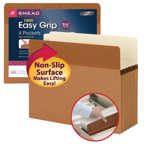 "Smead Easy Grip® File Pocket, Straight-Cut Tab, 5-1/4"" Expansion, Letter Size, Redrope, 4 per Pack (73219)"