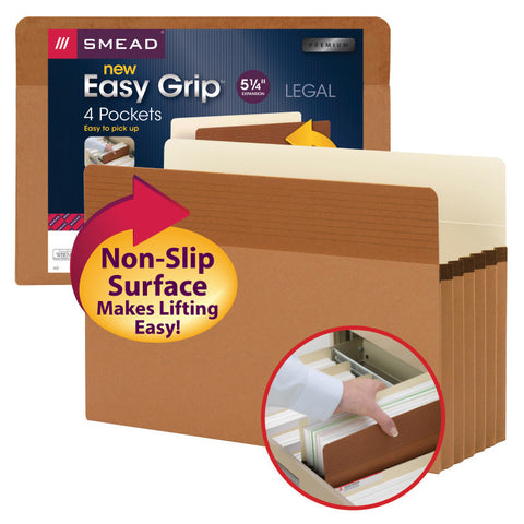 "Smead Easy Grip® File Pocket, Straight-Cut Tab, 5-1/4"" Expansion, Legal Size, Redrope, 4 per Pack (73220)"