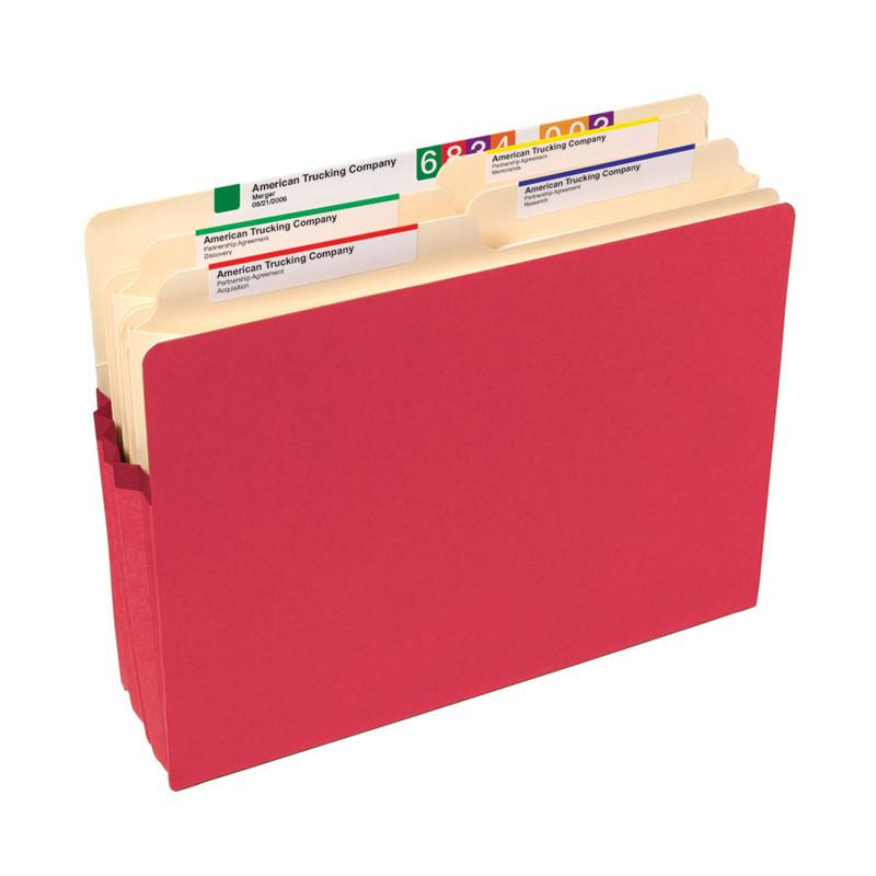 "Smead File Pocket, Straight-Cut Tab, 1-3/4"" Expansion, Letter Size, Red, 25 per Box (73221)"