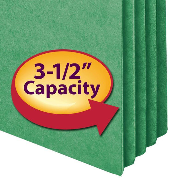 "Smead File Pocket, Straight-Cut Tab, 3-1/2"" Expansion, Letter Size, Green, 25 per Box (73226)"